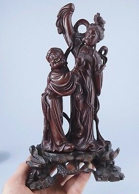 HIGHLY DETAILED ANTIQUE CHINESE HARDWOOD carved FIGURE with STAND. wood wooden