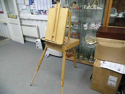 Adjustable Artist Easel with paint box holder or pencils etc, all folds up