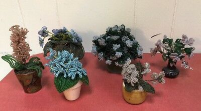 Vintage 1960s Decorative Handcrafted French Beaded Colored Flower Arrangements