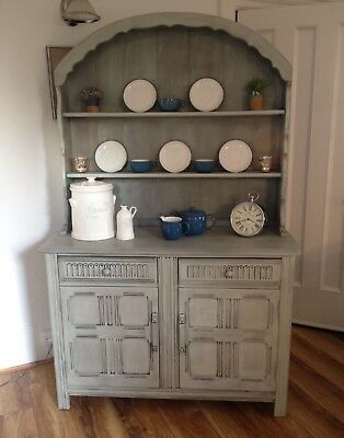 Large Priory Oak Dutch Dome Top Kitchen Dresser -  Antique Sage - Shabby Chic