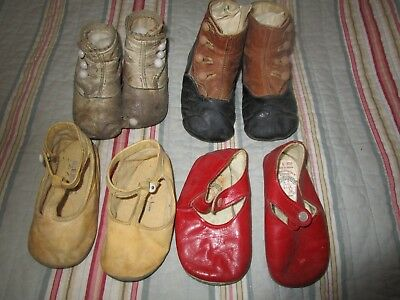 4 Pair AntiqueVintage Baby Shoes Leather with Shoe Button Hook