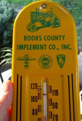 "RARE 1940s-50s JOHN DEERE Dealer ""TOMBSTONE"" THERMOMETER....Stockton, Kansas"