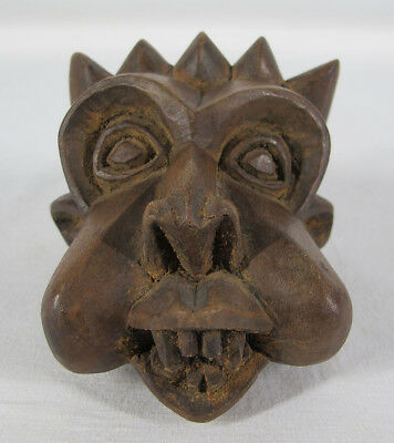 Vintage African Bamileke Tribe Hand Carved Small Wood Tribal Mask Cameroon yqz
