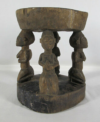 Antique African Bamileke Tribe Grassland Hand Carved Wooden Statuette Stool  yqz