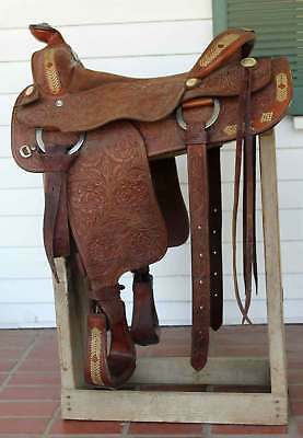"Victor Leather Goods Saddle Custom Hand Crafted Tooled Leather 17"" Breast Vtg"