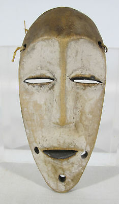 Vintage African Lega Balega Tribe Hand Carved & Painted Wood Face Mask Zaire yqz