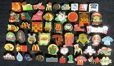 PIN LOT OF 52 DIFFERENT VINTAGE McDONALDS PINS 1980s - 1990s CREW VENDOR & EVENT