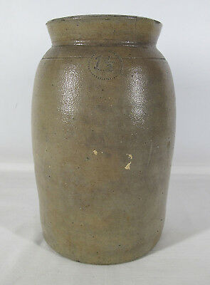 Antique 1800s Primitive 1-1/2 Gallon Salt Glazed Stoneware Storage Jar Crock yqz