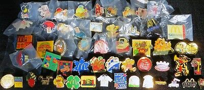PIN LOT #2 52 DIFFERENT VINTAGE McDONALDS PINS 80s - 90s VENDOR CREW BEANIE BABY