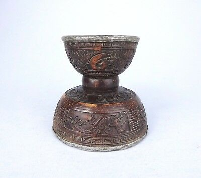 RARE 18th19thC INCENSE Stick HOLDER carved with BUDDHIST EMBLEMS censer