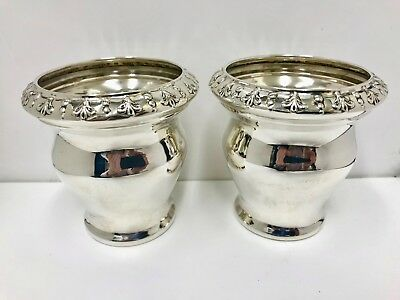 Pair of hallmarked sterling silver antique posy vases