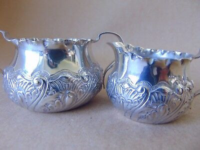 Pretty Victorian Sterling Silver Scrolls Sugar Bowl &  Cream Jug London 1886