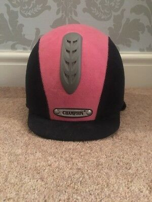 Girls  pink/Navy Champion Junior X Air Plus horse riding hat size 6 3/4 55cm