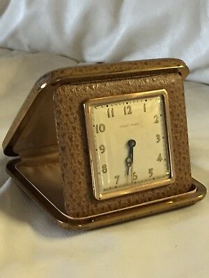"Vintage Of 1940's ""PHINNEY WALKER"" Travel Alarm Clock In A Leather Folding Case"