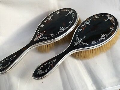 A Pair Of Silver Inlay Faux Tortoiseshell Hair Brushes, 1924/2