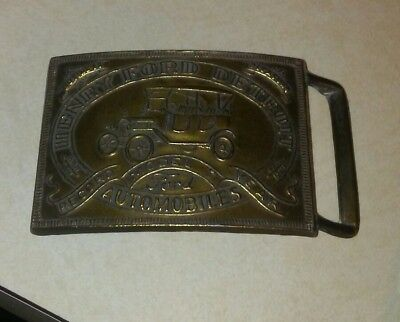 Henry Ford Detroit Automobiles Record Model T Year Brass Belt Buckle
