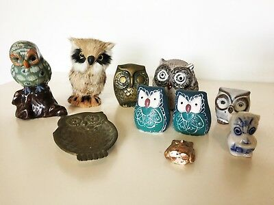 Vintage owl collection figurines statue lot metal porcellain 10 pcs