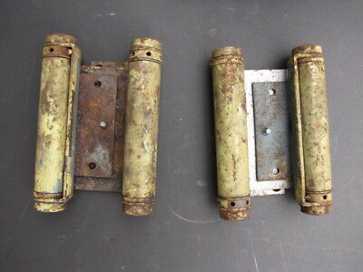 Antique Vintage Pair Steel Swinging Door Double Action Spring Loaded Hinges