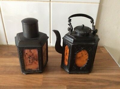 Chinese Metal Teatpot And Tea Caddy With Reverse Painted Glass Panels