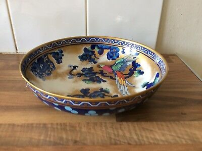 "Losol Ware ""Andes"" Lustre Bowl Depicting Parrot In Blossoms, 1915 -1934"