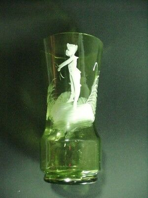 Lot #1:  MARY GREGORY, AMERICAN(1856–1908) VICTORIAN: JUICE GLASS GREEN W BOY