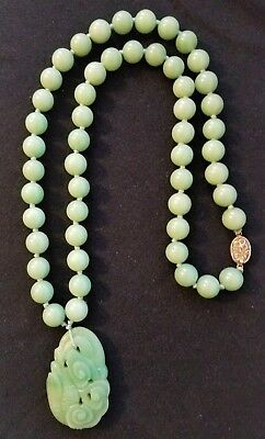 Green Jade Carved Pendant Bead Necklace Vintage Chinese 28""