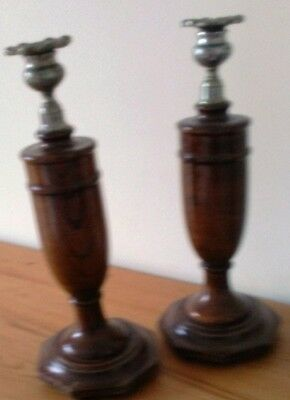 pair of beautiful vintage hand turned wood candle holders 12 inch tall