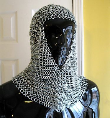 Chain Mail Chainmail Medieval Renaissance Armor Adult Steel Coif helloween