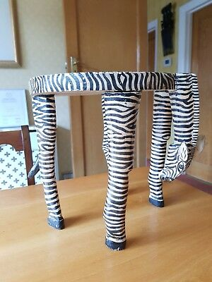 Vintage African Wooden Hand Carved & Painted Zebra Small Side Table