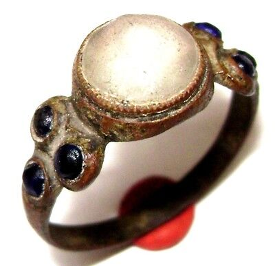 Ancient BRONZE RING with seven stones (gem, glass )