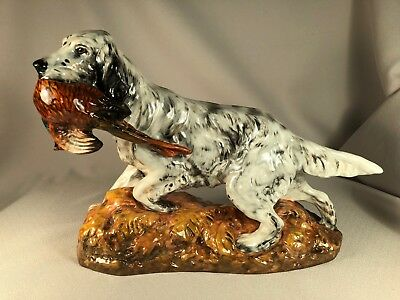 Royal Doulton England Large English Setter Dog With Pheasant Hn2529, Retired
