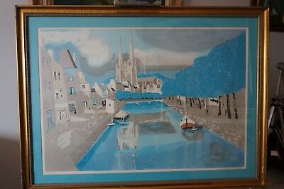 Original  mid century limited edition  french artist George Lambert.Blue family.