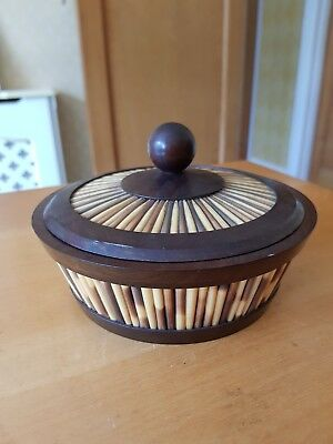 Lovely Vintage Porcupine Quill & Wooden Ebony Turned Bowl/Dish with Cover