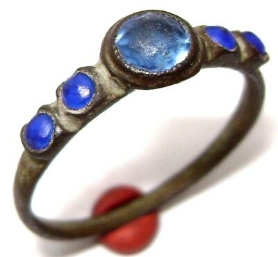 Ancient RARE BRONZE RING with five blue stones (gem, glass )