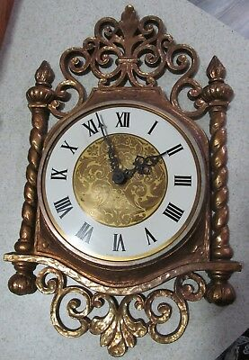 """Vintage 1966 Syroco Wall Clock 1014 - Working - Keeps Time On A """"c"""" Battery Usa"""