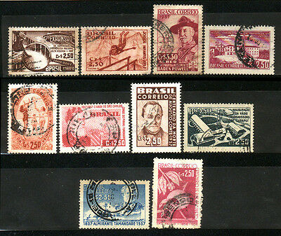 1957 Brazil Set Of 10 Used Stamps