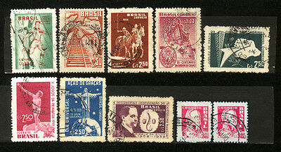 1959 Brazil Set Of 10 Used Stamps