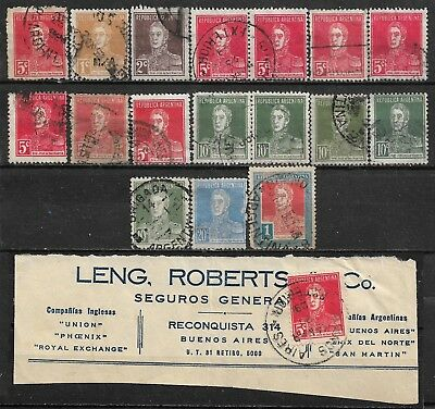 1923-1924 ARGENTINA SET OF 18 USED STAMPS (Scott # 328,341.342,345,346,348,353)