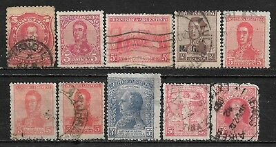 1888-1926 ARGENTINA LOT OF 10 USED STAMPS Scott # 60,149,220,233,253,283,290,359