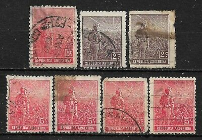 1911-1912 ARGENTINA SET OF 7 USED STAMPS (Scott # 177,181,194,194a)