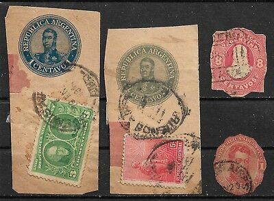 ARGENTINA Cut squares from Stamped envelopes