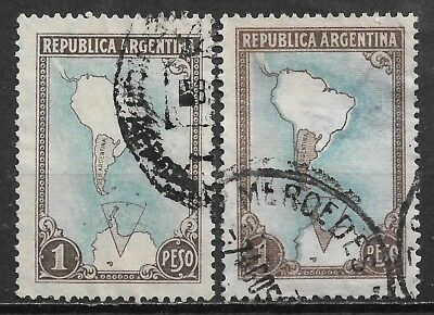 1951 ARGENTINA USED STAMPS (Scott # 594) Variety shifted contour of continent