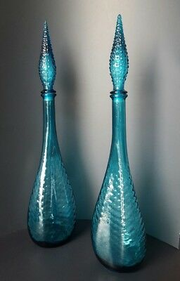 Rare Triple Pinched Vintage Italian Aqua Blue Glass Genie Bottles Optic Pattern