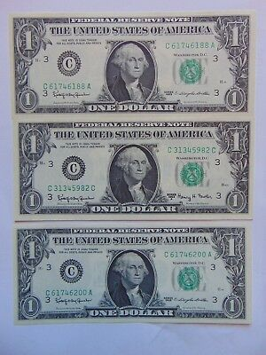 Lot Of 3 1963 & 1963A $1 Federal Reserve Notes Uncirculated