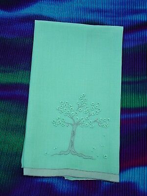 """Vintage Marghab Guest Towel, Jacaranda Tree Green, 14 x 21 1/2"""" Hand Embroidery"""