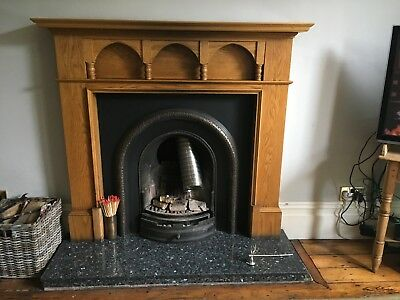 Cast Iron Fireplace Reproduction Victorian Style and Mantle piece sold together