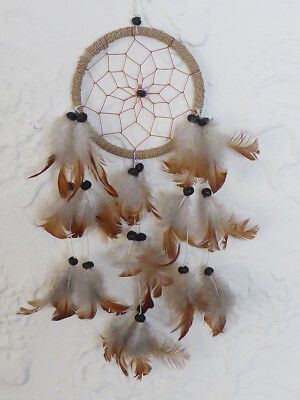 Brown White Gray Tan Feather Beaded Indian Star Dream Catcher Wall Art Decor