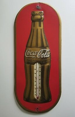 Vtg 1930's Gold Coca Cola Thermometer Sign