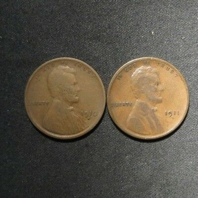 1910-S and 1911-S Lincoln Cents 1¢- Nice Coins