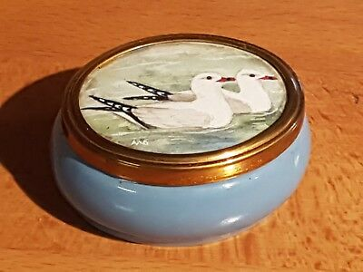Small Ceramic Trinket Pot With Original Water Colour Painted Lid - Birds